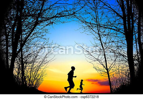 Running at Sunset - csp6372218
