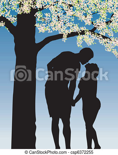 Tradition kiss under cherry bloom - csp6372255