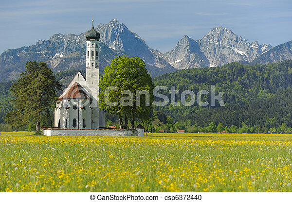 landmark church St. Coloman in Bavaria, Germany, at springtime - csp6372440