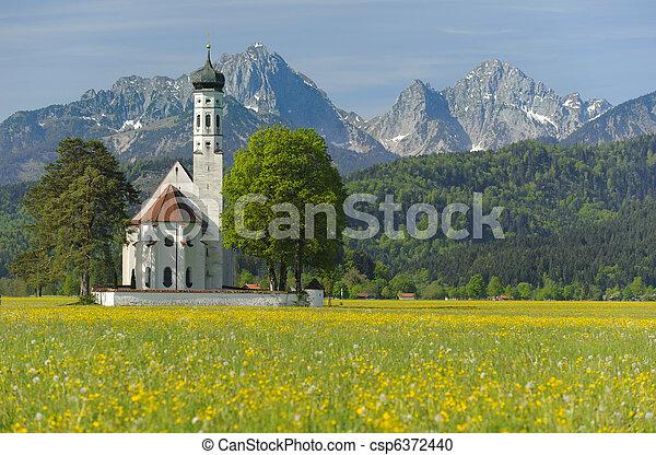 landmark church St. Coloman in Bavaria, Germany, at springtime - csp6372440