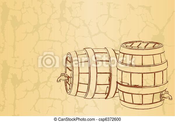 Beer Barrel on Vintage Background - csp6372600