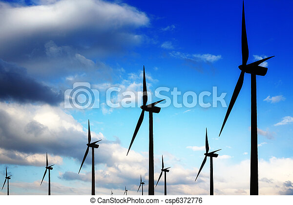 Wind turbines and blue sky - csp6372776