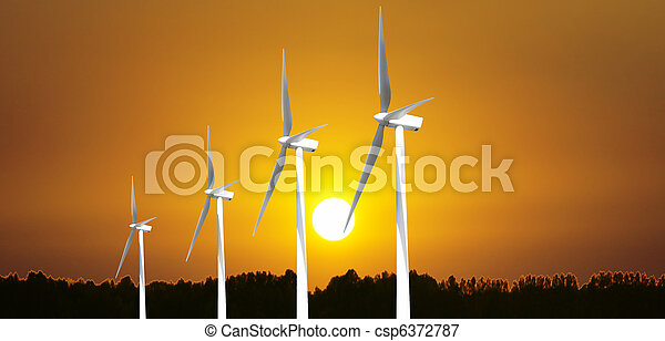 Wind turbines panorama - csp6372787