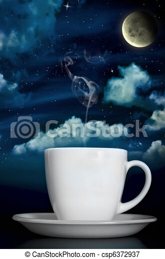 Dreamy Steaming Coffee Under Moonlight - csp6372937