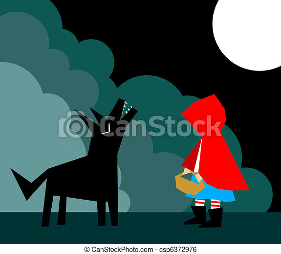 Little Red Riding Hood and the Wolf - csp6372976