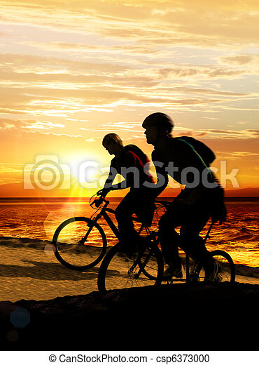 Couple on bicycles - csp6373000