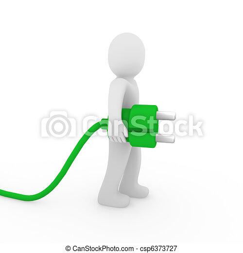 3d man green plug  - csp6373727