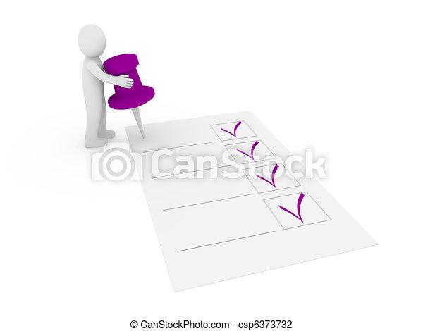 3d tack check list - csp6373732