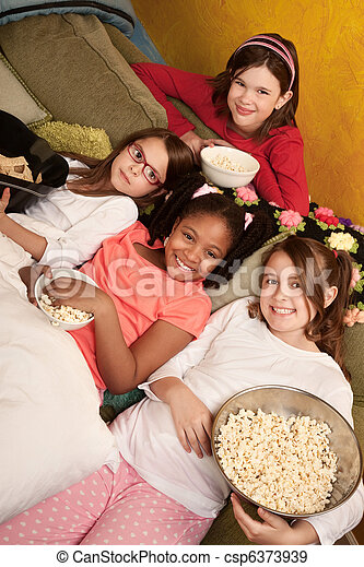 Kids Eating Popcorn - csp6373939