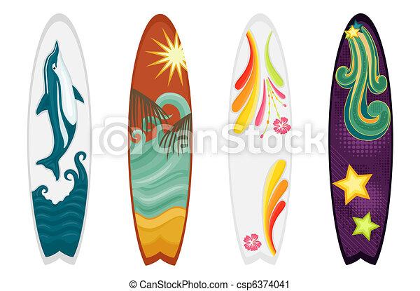 Vector clip art de cuatro conjunto tablas de surf set - Disenos de tablas de surf ...