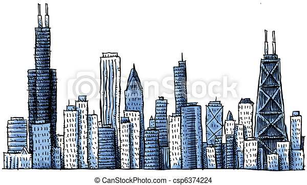 Cartoon Chicago Skyline - csp6374224