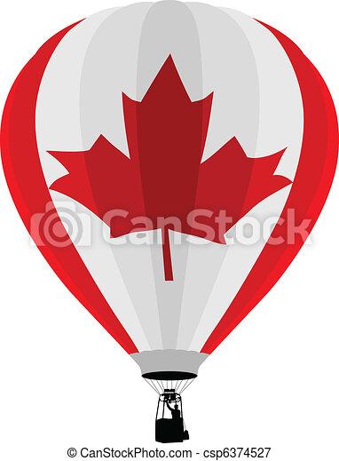 Vectors Illustration of Air Balloon, Canadian Flag - Vector ...