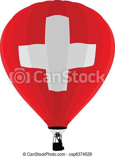 Air Balloon, Switzerland Flag - csp6374529