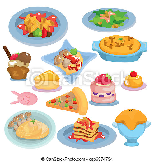cartoon Italian food set - csp6374734