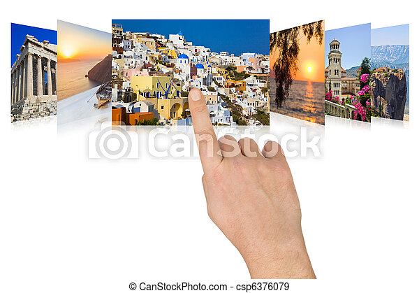 Hand scrolling Greece travel images - csp6376079