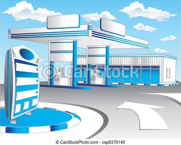 Blue refuel station - csp6376140