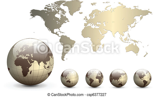 Earth globes and map of the world - csp6377227