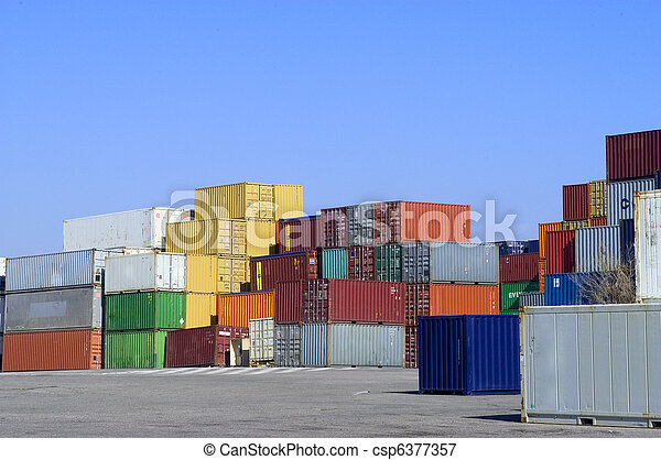 containers at the port for shipment - csp6377357