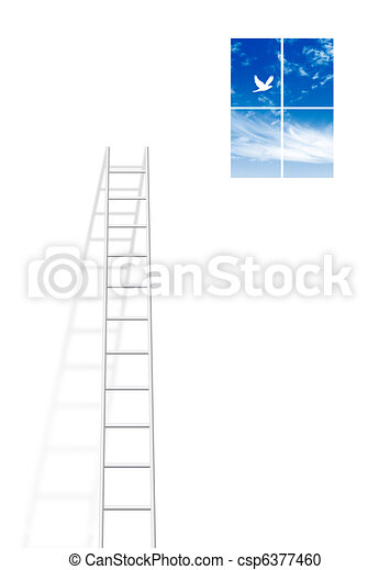 Ladder leading up to window - csp6377460