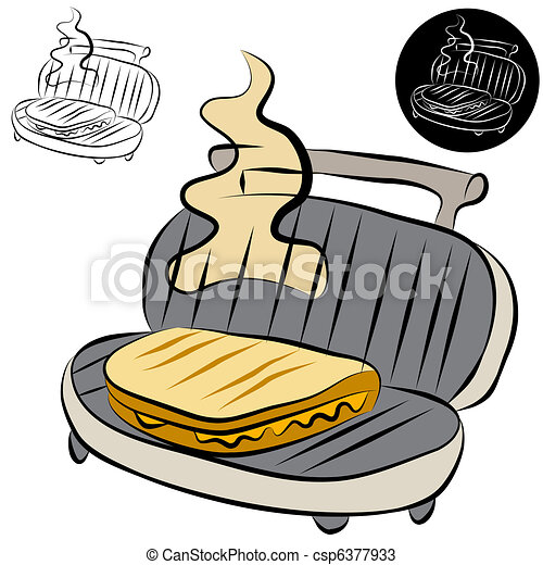 Panini Press Sandwich Maker Line Drawing - csp6377933