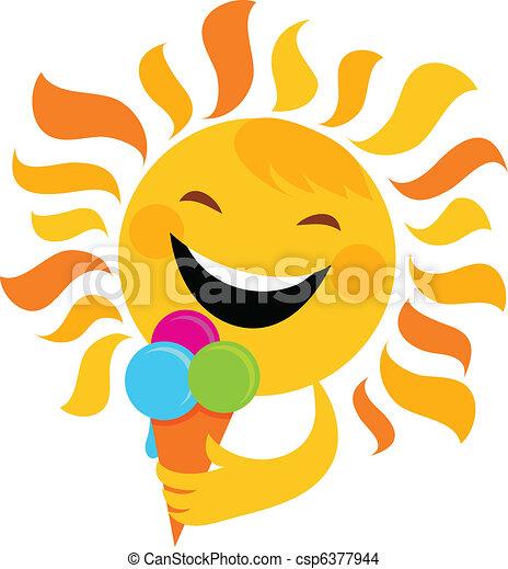 smiling sun eating ice cream - csp6377944