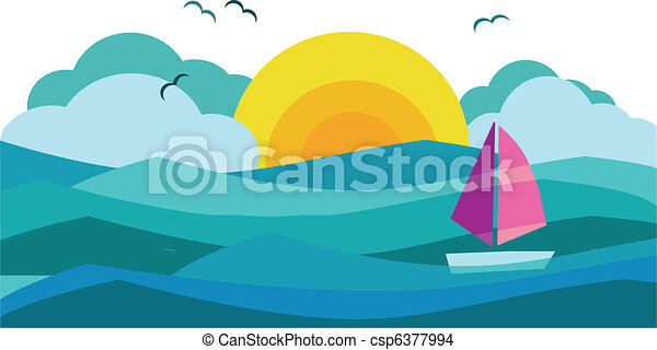 sunny view of ocean with sailing yacht 3 - csp6377994