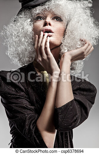美麗, 肖像, 風格, 時裝, 婦女 - csp6378694
