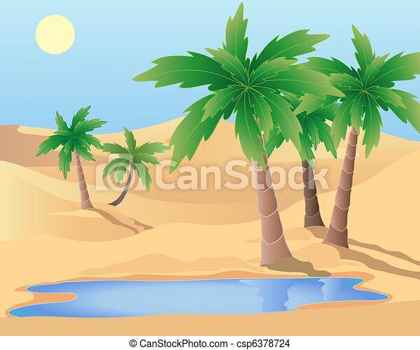 desert oasis drawing - photo #9