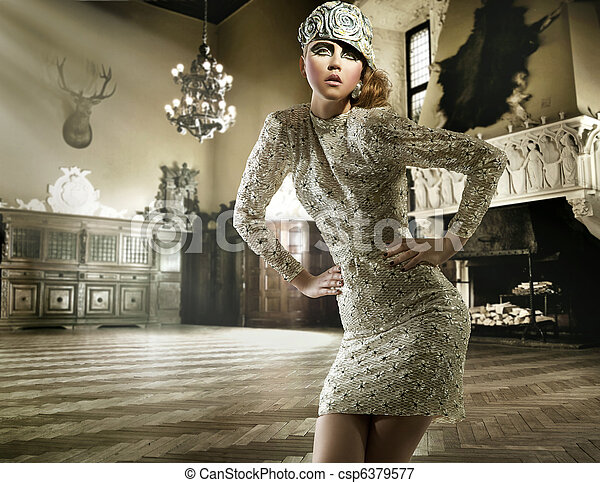 Beautiful lady posing in a vintage interior - bw version - csp6379577