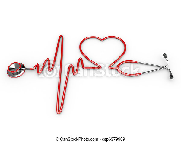Stethoscope and a silhouette of the heart and ECG - csp6379909