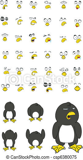 penguin cartoon set - csp6380075