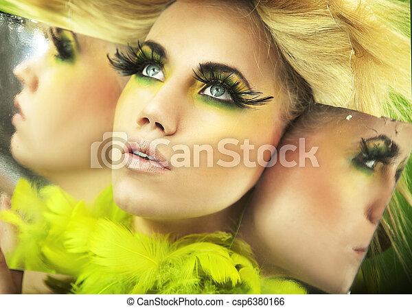 Multiple portrait of a pretty blonde - csp6380166