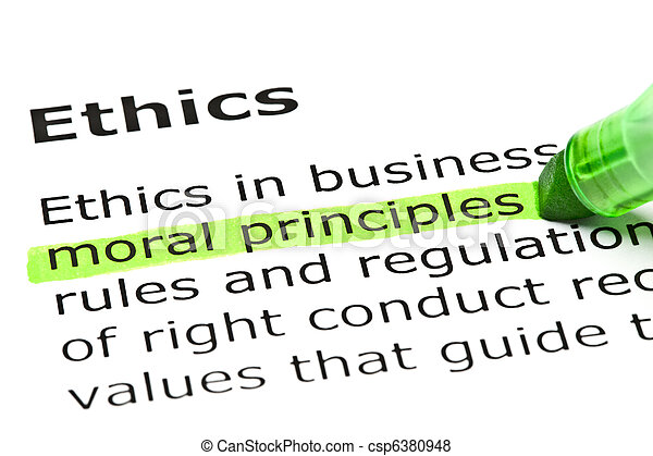 'Moral principles' highlighted in green - csp6380948