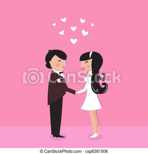Cute Bride with groom, wedding ceremony  - csp6381506