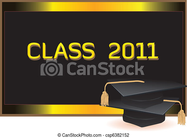 Graduation invitation card with mortars - csp6382152