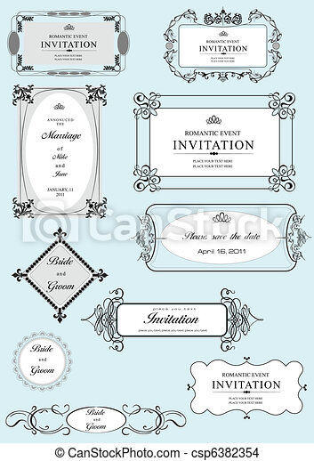 Set of ornate vector frames and or - csp6382354