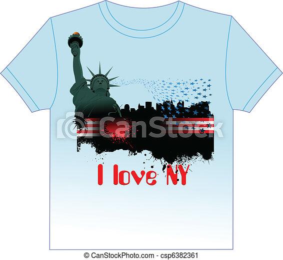 Trendy T-Shirt design with New Yor - csp6382361