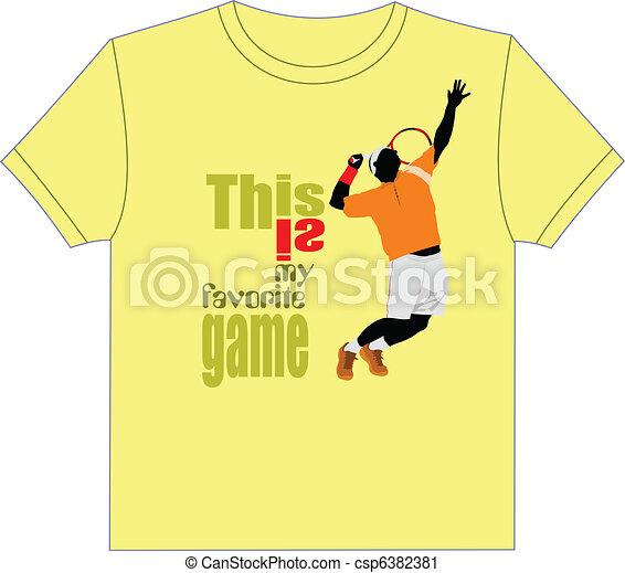 Trendy T-Shirt design with tennis  - csp6382381