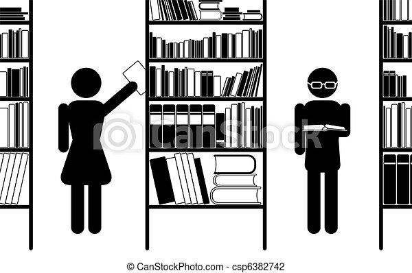 Bücherregal clipart schwarz weiß  Vektor Illustration von buchausleihe - Library, piktogramm ...