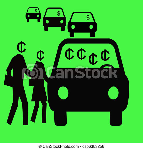 Illustration of smart commuter - thrifty commuters sharing a carpool ...