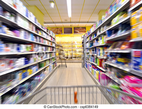 supermarket shopping - csp6384149