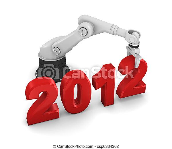 Industrial robotic arm building 2012 year - csp6384362