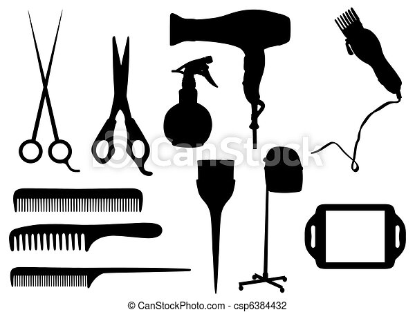 Hairdressing objects - csp6384432