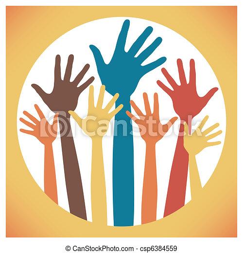 Happy hands design. - csp6384559