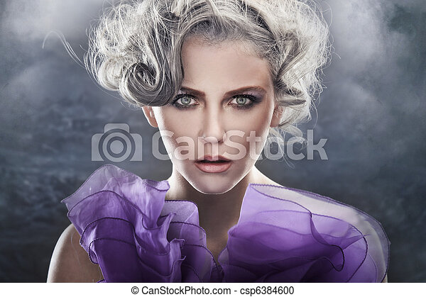 Fashion style portrait of a young lady over fantasy background - csp6384600