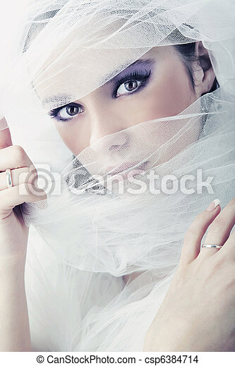 Young brunette beauty or bride, behind a white veil - csp6384714