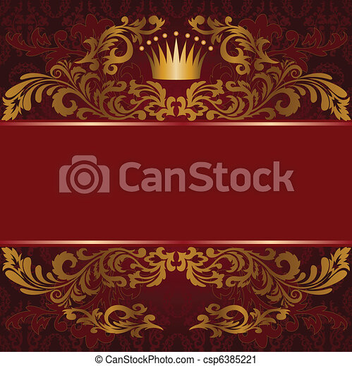 Red background with gilded ornament - csp6385221