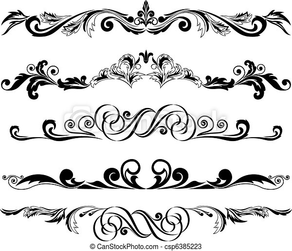 set of horizontal ornaments 2 - csp6385223