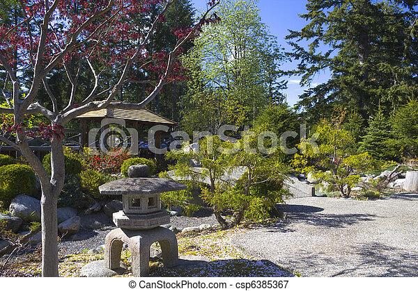 Serenity gardens at Japanese internment camp, New Denver BC - csp6385367