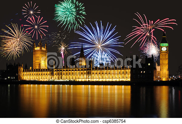 Fireworks over Big Ben / Parliament at midnight - csp6385754